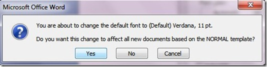 default font in ms word